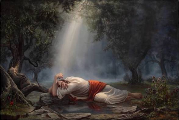 Image result for image of jesus throwing himself to the ground in the garden of gethsemane