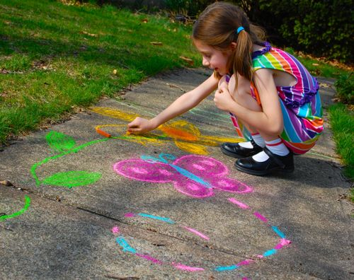 Image result for image of children drawing on the sidewalk with chalk