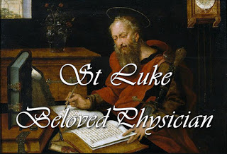 The evangelist Luke, writing - picture by Master with the Parrot (between 1520-1550).   1 Saint Luke, beloved physician, with honour now recall, who served his Master's mission, who ministered to Paul; whose skill to distant ages bequeathed a gift unpriced, a gospel in whose pages we see the face of Christ. 2 He tells for us the stories of Jesus here on earth, the unsung pains and glories that marked the church's birth; the Spirit's power in preaching, the contrite sinner freed, the grace and mercy reaching our deepest human need. 3 For all who work our healing we lift our hearts in prayer, the love of God revealing in science, skill and care: his gifts be still imparted to those who make us whole, like Luke the tender-hearted, physician of the soul.